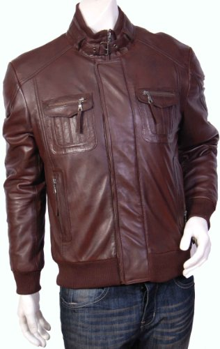 Mens Bomber Leather Jacket-Gents Fitted Leather Jacket-Brown-Tom (S)