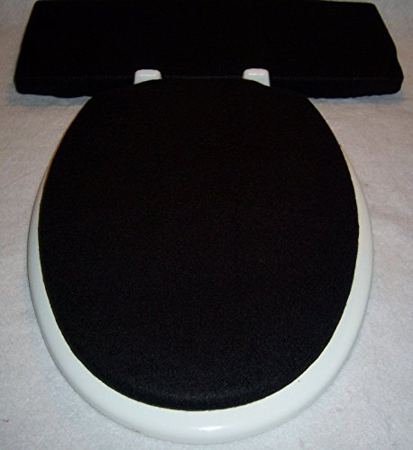 Solid BLACK Fleece Elongated Toilet Seat Lid And Tank Lid Cover Set Hardware