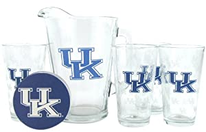 NCAA Satin Etch Pitcher and 4 Glass Gift Set by Boelter Brands