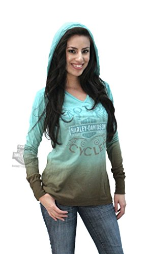Harley-Davidson Womens Never Too Much Dip Dyed Hooded Shirt (XXL)