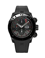 Edox Men's 01114 37N NRO Class 1 Automatic Chronograph Black PVD Rubber Watch