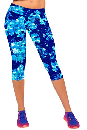 Ancia Womens Active Workout Capri Leggings Fitness Tights Pants Tracksuits XL