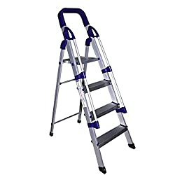 Glow Plast Folding Aluminium Ladder with Railing - Home Pro 4 Steps With 7 Years Warranty