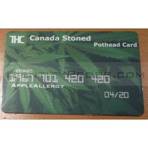 THC Canada Stoned Pothead ID Card Trees Marijuana License Credit Card Novelty