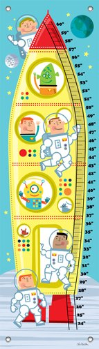 "Oopsy Daisy Growth Chart, Astronauts and Aliens, 12"" x 42"""