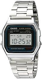 Casio Men's Alarm Chrono A158WA-1 Silver Stainless-Steel Resin case Quartz Watch with Digital Dial