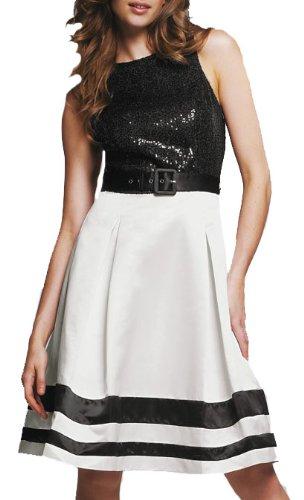 Ladies Classic Black & White Beaded Kneelength Dress in Women's Plus Sizes