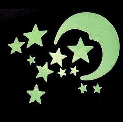12 Pcs Wall Stickers Home Decor Glow In The Dark Star Moon Stickers Decal Baby Kids Gift Nursery Room Luminous - 1