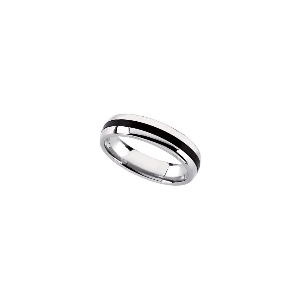 Stainless Steel Domed Wedding Band Ring with Black Rubber (Size 13 )