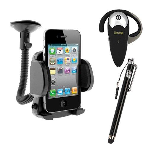 Ikross Wireless Bluetooth Handsfree Headset + Small Car Mount Holder + Black Pen Style Stylus For Apple Iphone 5C, 5S, 5 ; Htc One (E8)/ (M8)/ (M7), One Mini 2, Desire 610, Desire / Desire 601, One Max, One Mini