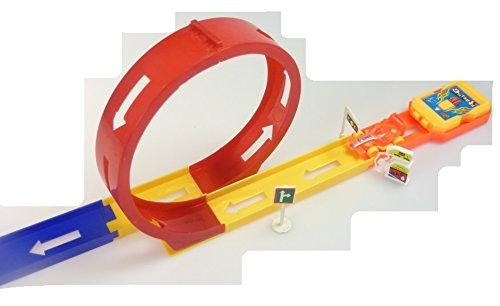 Bausatz Rennbahn, inkl. 1 Auto, Looping, Abschußrampe und Zubehör - Aufgebaut ca. 80 cm Gesamtlänge