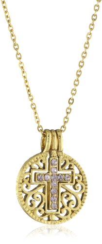 The Vatican Library Collection Gold-Tone Amethyst Colored Cross Pendant Necklace