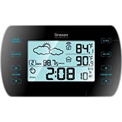 Oregon Scientific BARM699 Touch-Screen AM/FM Radio Alarm Clock with Weather Forecasts and Wireless Outdoor Thermometer