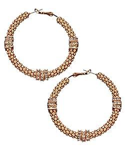 Amazon.com: Blu Bijoux Rose Gold Crystal Beaded Hoop Earrings: Jewelry