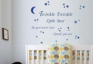 Twinkle Twinkle Little Star Wall Art Vinyl Stickers - Dark Blue - Medium 58cm x 26cm