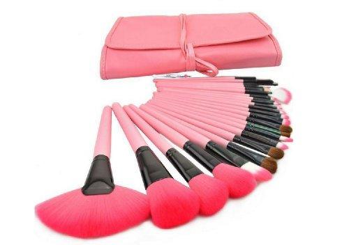 やわらか化粧ブラシセット上級者用 メイクブラシセット24本 ピンクの可愛い専用収納ケースとまゆ用毛抜き付き