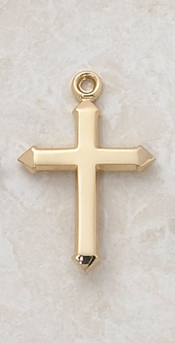 22kt. Gold over Sterling Silver, Gold Cross Medal with 18
