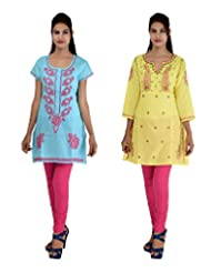 Anpassa Women's Poly Cotton Sky Blue And Yellow Kurti Combo Set