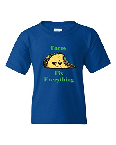Tacos Fix Everything DT Novelty Youth Kids T-Shirt Tee (X-Large, Royal Blue) (Royal Cook Tortilla compare prices)