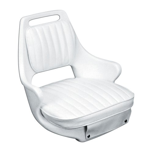 "Moeller Heavy Duty Offshore Boat Helm Seat, Cushion, and Mounting Plate Set (23.5"" x 21"" x 18.5"", White)"