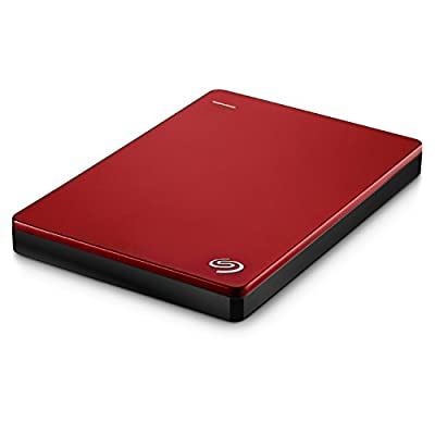Seagate Backup Plus Slim 2TB Portable External Hard Drive with Mobile Device Backup USB 3.0 (Red) STDR2000103