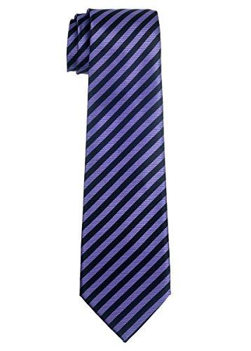 Retreez Striped Woven Microfiber Boy's Tie (8-10 years) - Purple and Black Stripe