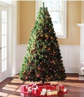 6.5 Ft Artificial Christmas Green Madison Pine Tree Pre-lit Multi-Color Lights image