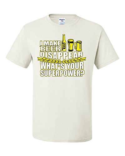 Wild Bobby I Make Beer Disappear What's Your Superpower Tee Graphic T-Shirt - ( Small, White )