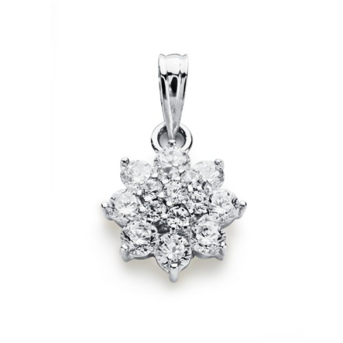 18K white gold pendant zircons rennet 13 × 10 mm.