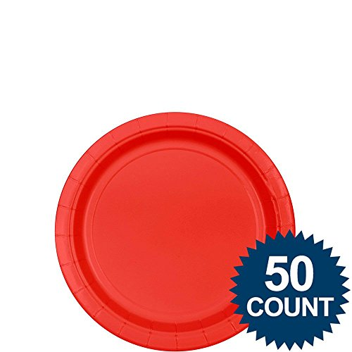"Red 7"" Paper Plate, 50 Ct. - 1"