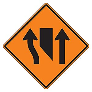 MUTCD W9-3 Orange Center Lane Closed Symbol Sign, 3M Reflective Sheeting, Highest Gauge Aluminum,Laminated, UV Protected, Made in U.S.A