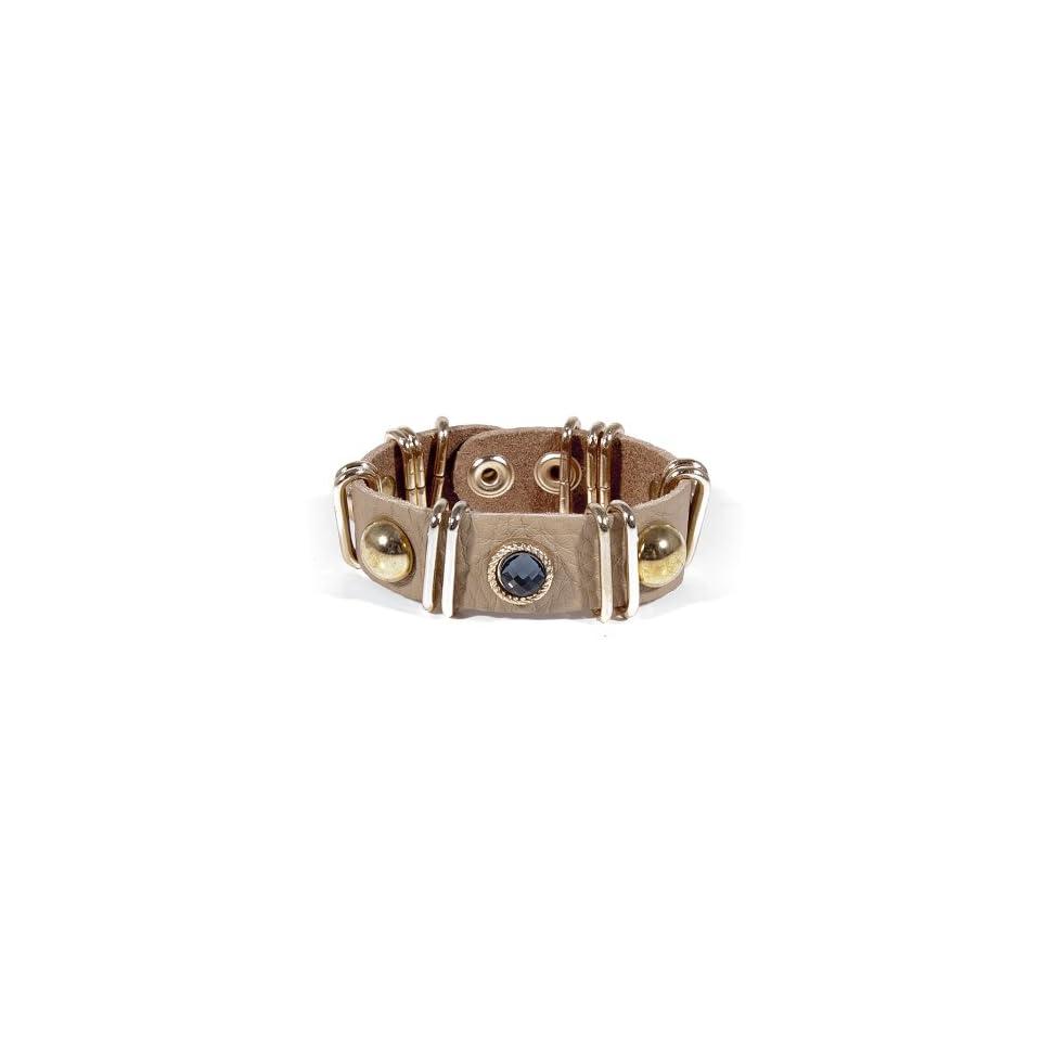 Cubic & Stud Leather Wrap Bracelet   GOLD/BEIGE