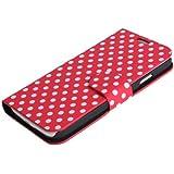 Leegoal(TM) Rot/Wei� Polka Punkte Leder Flip H�lle Case W/Stehen Schutzh�lle F�r Samsung Galaxy S4 SIV i9500 Mit Zubeh�r Bildschirm Protector, Anti-Staub-Stecker
