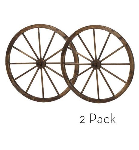 "36"" Wooden Wagon Wheels - Steel-rimmed Wooden Wagon Wheels, Set of Two Product SKU: PL50020"