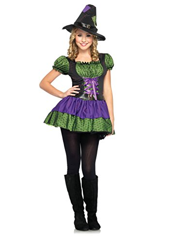 Girls Leg Avenue J48034 2Pc Hocus Pocus, Peasant Dress & Matching Witch Hat Costumes