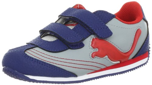 PUMA Speeder Illuminescent V Light-Up Sneaker (Toddler/Little Kid/Big kid),Gray/Blue/Flame Scarlet,8 M US Toddler
