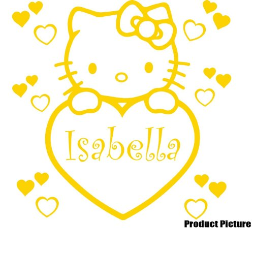 Hello Kitty Hello Kitty heart [60 x 60 cm yellow yellow, Kitty Sanrio character and excellent durability! Waterproof, oil-resistant high quality premium / art stickers wall stickers / car wall Interior suitcases almost pasted what! Window decal sticker Ro