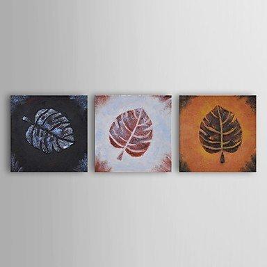 pittura-a-olio-moderna-foglia-floreale-sfregamento-insieme-trio-di-3-mano-tela-con-telaio-allungato-