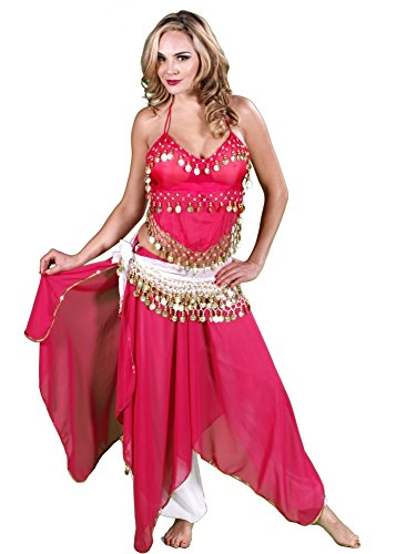 Belly Dance Top, Skirt, Pants & Hip Scarf Halloween Costume Set | Raqs Tonight - Fuschia/Gold - (Belly Dance Costumes For Teenagers)