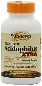 Sundown Naturals Extra Acidophilus, 120 Caplets (Pack of 2)