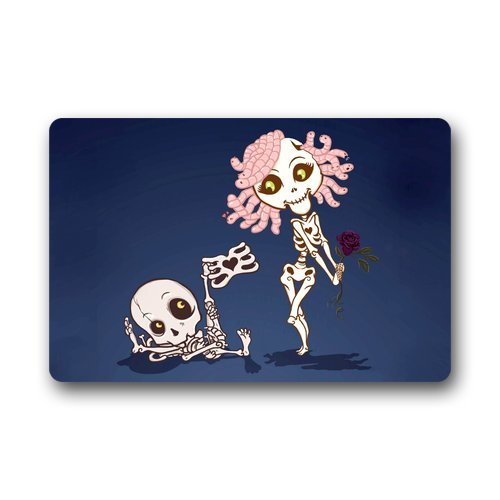 Atnee Cartoon Human Skeletons Girl And Boy Fall In Love Doormat Door Mat / Pad front-97997