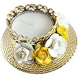 Kraftnation Yellow & White Rose Decorative Diya/ Tea Light Holder
