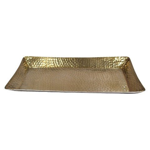 ThresholdTM Metal Hammered Serving Tray - Gold