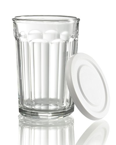 Arc International Luminarc Working Glass Storage Jar/Cooler with White Lid, 21-Ounce, Set of 4 by Arc International (21 Oz Glasses With Lids compare prices)
