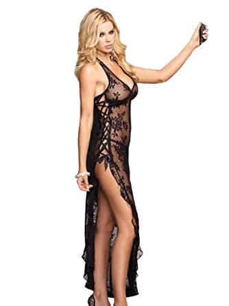 SeXy Sheer Stretch Lace Nightgown Long Gown Thong Panty Set Black or Red Color: Black
