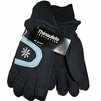 Ladies Gloves Thinsulate Insulated Lined Ski Warm Winter Snow Present Soft (Black)