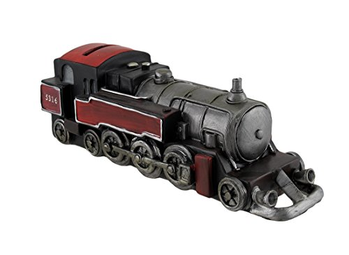 Red And Black Steam Engine Sculptural Train Engine Coin Bank - 1