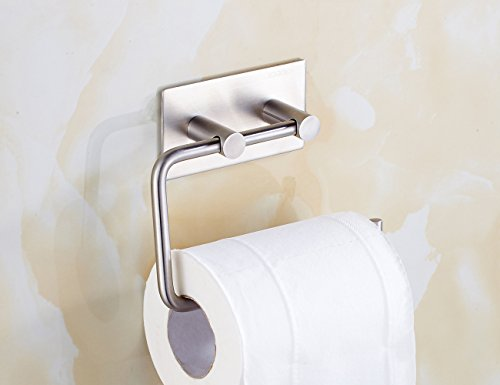 Xogolo Self Adhesive Toilet Paper Holder Wall Mount, SUS 304 Stainless Steel, Kitchen Bathroom Towel Dispenser 3M Stick, Brushed Finished (Rv Toilet Paper Holder compare prices)