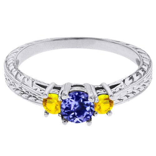 0.56 Ct Round Blue Tanzanite Yellow Sapphire 14K White Gold 3-Stone Ring