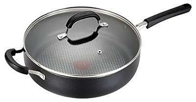 T-fal C08582 OptiCook Thermo-Spot Titanium Nonstick Dishwasher Safe Oven Safe Jumbo Cookware Saute Pan Cookware, 5-Quart, Black